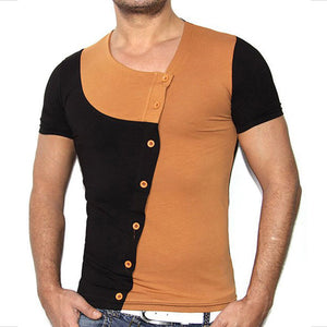 Colour-matching And Multi-button Self-cultivation Men's T-shirt