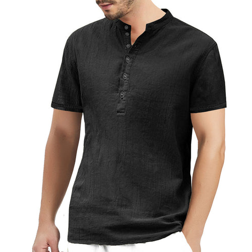Cotton And Linen Stand Collar Linen Men's T-shirt