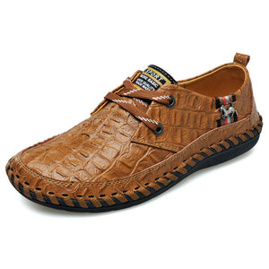 Crocodile Pattern Hand-made Casual Shoes