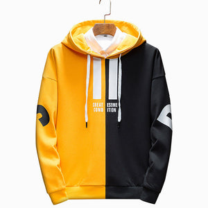 Contrast Color Elasticity Comfortable Men's Hoodie