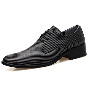 Stripe Pointed Flat Bottom Men's Formal Shoes