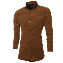 Stand Collar Single-Breasted Long Sleeve Men's Trench Coat