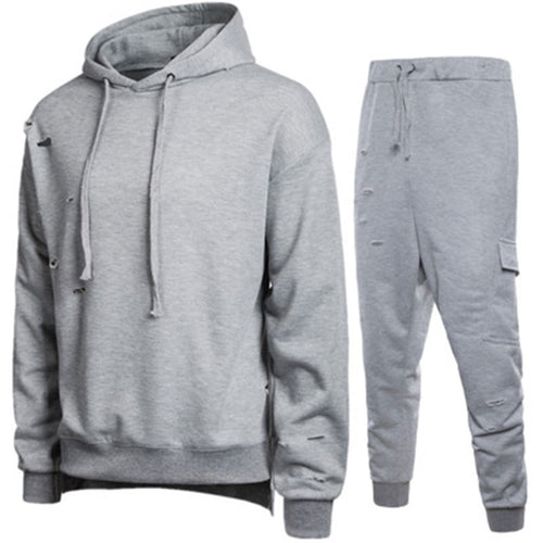 Hole Hooded Casual Comfortable Men's Sports Suit