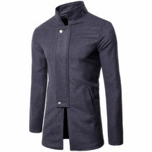 Stand Collar Slim Solid Color Men's Trench Coats
