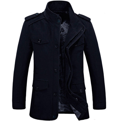 Casual Stand Collar Color Block Men's Jackets Coat