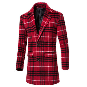 Lattice Pattern Lapel Wool Blends Single-Breasted Men's Trench Coat