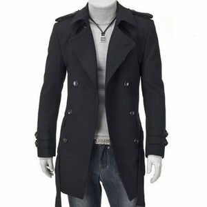 Lapel Double-Breasted Pure Color Men's Trench Coat