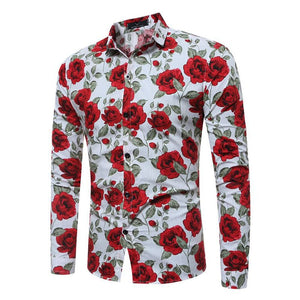 Long-sleeved Floral Lapel Single-row Buttons Men's Shirt