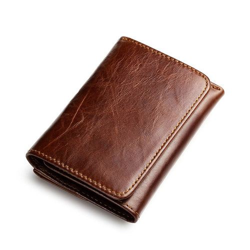Real Leather Vintage Short Wallet