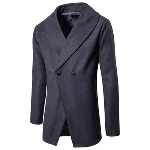 Single-Breasted England Asymmetric Wool Blends Men's Trench Coat