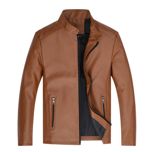 Locomotive Pure Collar Zipper Men's Pleather Coat