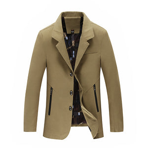 Plus Size Cold-proof Zippered Men's Trench Coat