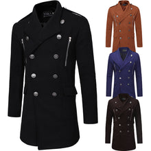 Double-breasted Lapel Belt Casual Men's Trench Coats