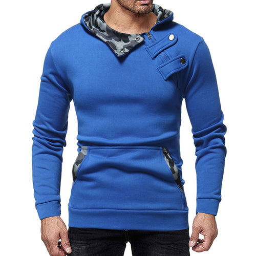 Button Casual Cotton Blends Contrast Color Men's Hoodies