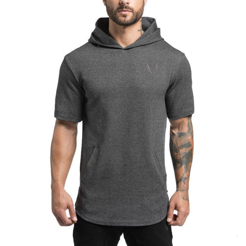 Fitness And Leisure Cap Round-collar Cotton Men's T-shirt