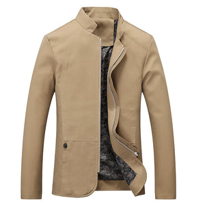 Plus Size Stand Collar Pure Color Men's Jackets Coat