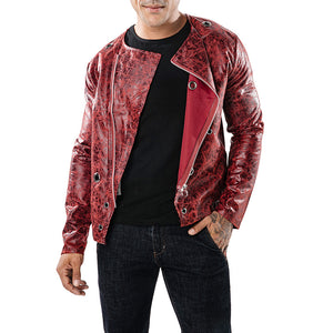 Decoration Dark Ribbed Diagonal Zipper Men's Pleather Coat