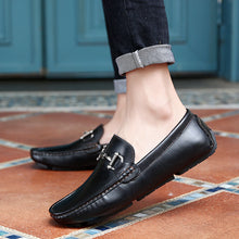 Bean Metal Buckle Round Head Men's Casual Shoes