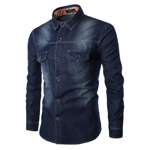 Water-washed Denim Single-breasted Buckle Men's Shirt