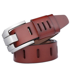 Wide Pin Buckle Cow Leather Belt