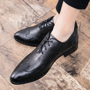 Men's Dress Shoes Star Pattern Embossed Oxford Shoes
