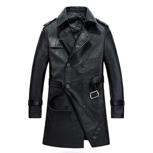 Pleated PU Single-Breasted Casual Men's Leather Coat