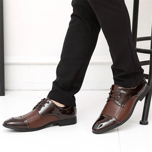 Large-size Bright Leather Belt Stitching Men's Dresses Shoes