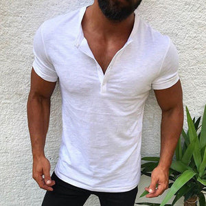 Button Pure Color Short Sleeve Men's T-shirt