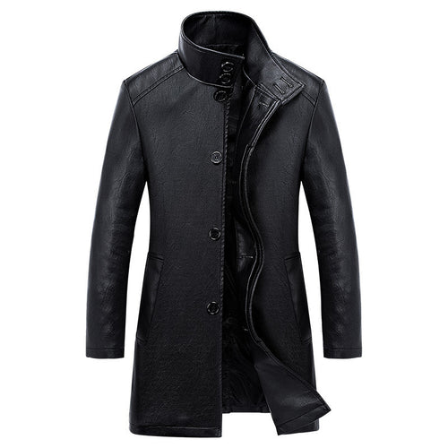 Business Brief Single-Breasted PU Men's Leather Coat