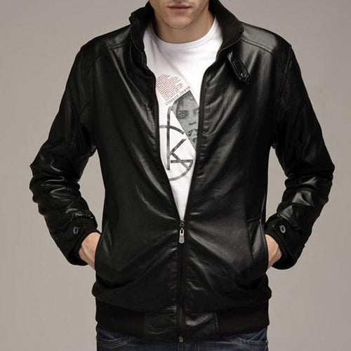 Locomotive Collar Pure Color Men's Pleather Coat