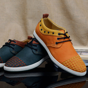 Braided Stitching Gradient Breathable Men's Flat Shoes