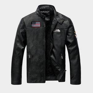 Plushing PU Garment Locomotive Men's Leather Coat