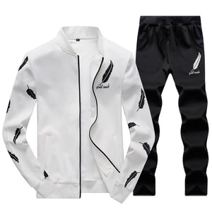 Feather Pattern Pure Color Men's Sports Suit