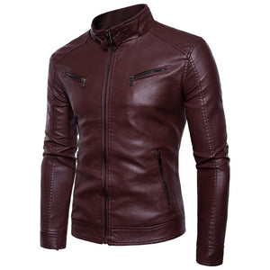 Comfortable Rock Cold-proof Men's Leather Coat