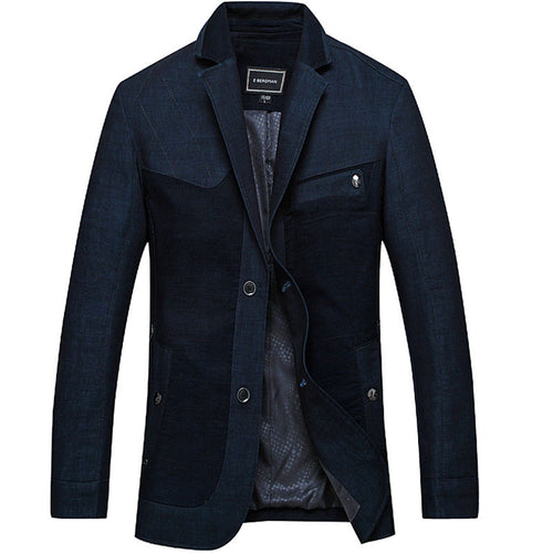 Notched Neck Slim Casual Men's Trench Coat