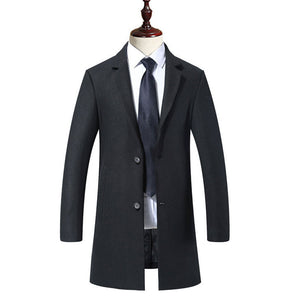 Lapel Button Long Sleeve Casual Men's Trench Coat