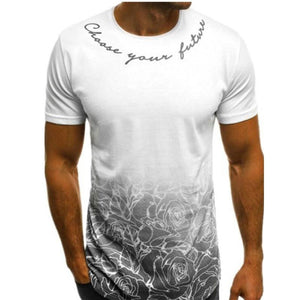 Gradual Printing Of Round Collar Men's T-shirt