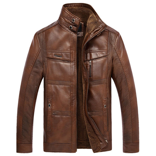 Stand Collar Plain Zipper PU Men's Leather Coat