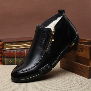 Medium Barrel Plush Non Slip Men's Leather Boots