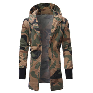Camouflage Hooded Zip-up Plus Size Men's Trench Coat