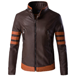 Plus Size Locomotive Block Color Men's Leather Coat