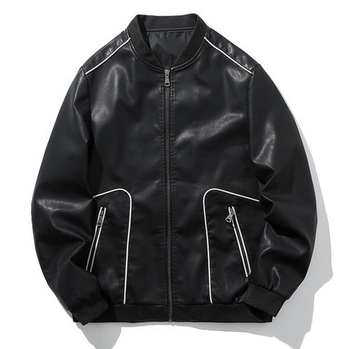 Standing Collar And Cultivating Oneself Men's Pleather Coat