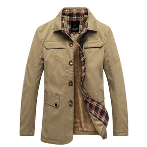 Pure Color England Plus Size Single-Breasted Cotton Men's Trench Coat