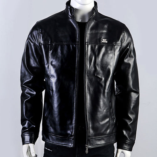 Glossy Soft Solid Color PU Men's Leather Coat
