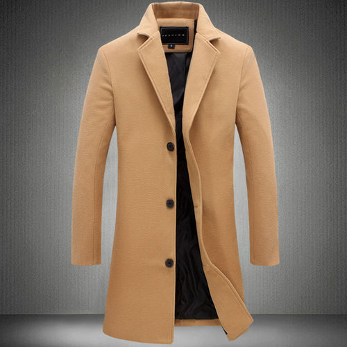 Wool Blends Plain Lapel Pocket Long Sleeve Men's Trench Coat