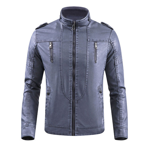 PU Zipper Stand Collar Pocket Men's Leather Coat