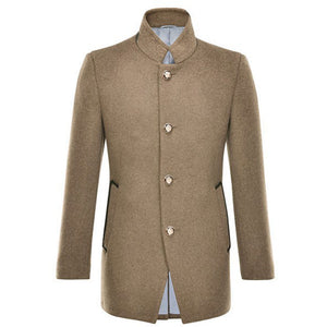 Plain Patchwork Slim Men's Trench Coat