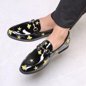 Black Print PU Rubber Buckle Slip-On Men's Casual Shoes