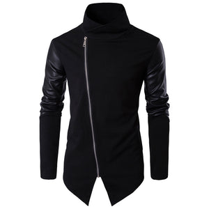 Standing Collar Slim Knitted Sweater Patchwork Men's Hoodie