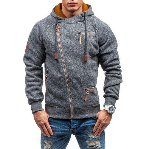 Cardigan Comfortable Soft Diagonal Zipper Men's Hoodie